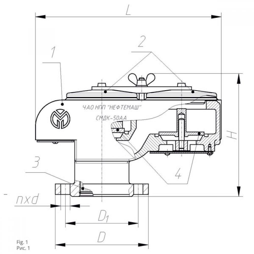 Непримерзающий совмещённый механический дыхательный клапан НСМДК-100АА